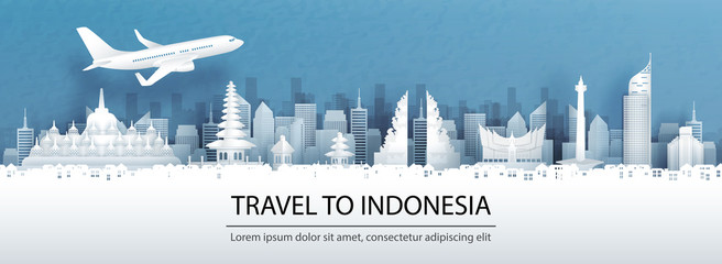 Travel advertising with travel to Indonesia concept with panorama view of city skyline and world famous landmarks in paper cut style vector illustration. Wall mural