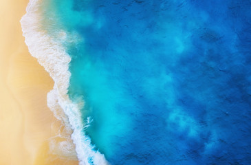 Coast as a background from top view. Turquoise water background from top view. Summer seascape from...