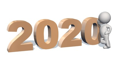 Year change to 2020 with 3D people - isolated on white background
