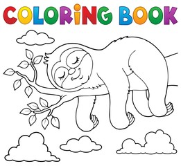 Photo sur Plexiglas Enfants Coloring book sleeping sloth theme 1