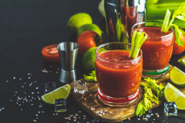 Bloody Mary cocktail. Alcoholic drink and ingredients