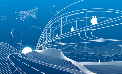 Wall Mural - City infrastructure industrial and landscape illustration. People walk across the river bridge. Automobile road in mountains. White lines on blue background. Vector design outline art