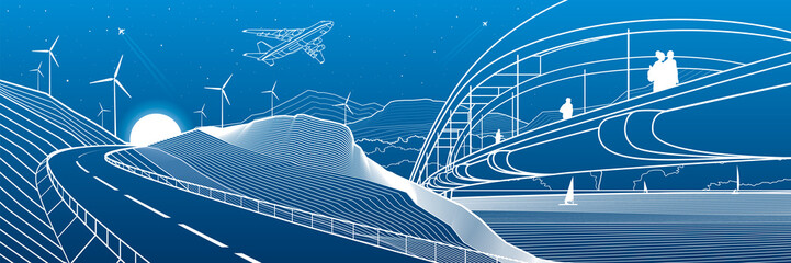City infrastructure industrial and landscape illustration panorama. People walk across the river bridge. Automobile road in mountains. White lines on blue background. Vector design outline art