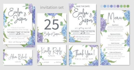 Set of wedding invitations, floral invitations, table, menu, thank you, rsvp card design. Eucalyptus, salal, chamaelaucium, seasonal fern.Blue, purple, of hydrangea flowers on a white background
