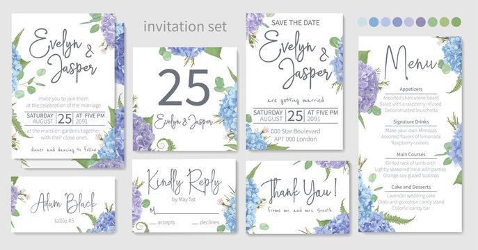 Set of wedding invitations, floral invitations, table, menu, thank you, rsvp card design. Eucalyptus, salal, chamaelaucium, seasonal fern.Blue, purple, of hydrangea flowers on a white background