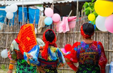 Kuna ethnic group village, Puberty party, San Blas archipelago, Kuna Yala Region, Panama, Central America, America