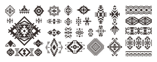 Papiers peints Style Boho Set of Tribal decorative elements isolated on white background. Ethnic collection. Aztec geometric ornament.