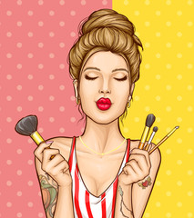 Beauty saloon, face makeup cosmetics pop art vector advertising banner or promo poster template. Shoulder portrait of young, woman with closed eyes, holding various makeup brushes in hand illustration