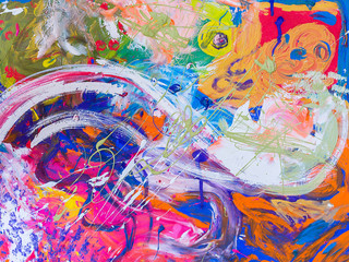 Deurstickers Graffiti Picture, abstract painted canvas as multicolor background
