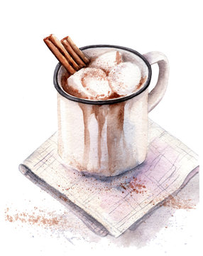watercolor drawing of cocoa drink in a mug, with marshmallows