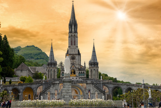 View of the basilica of Lourdes in France