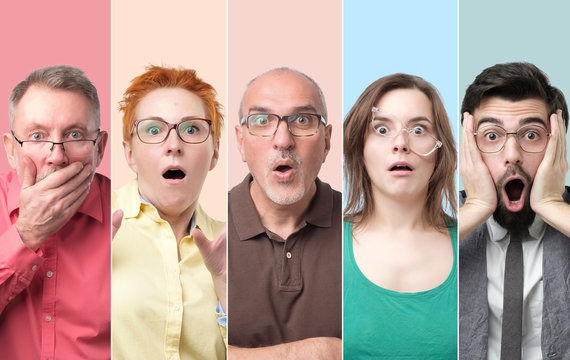 Oh no concept. Collage of men and women with glasses looking at camera, keeping mouth wide opened feeling shocked and stressed.
