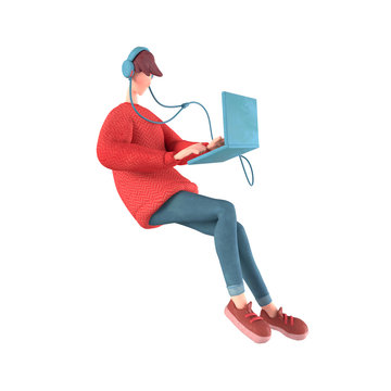 3d character of a young cartoon guy with headphones listening to music floating in the air. Teen boy in a red sweater surfs the Internet on the computer. 3d rendering isolated on a white background.