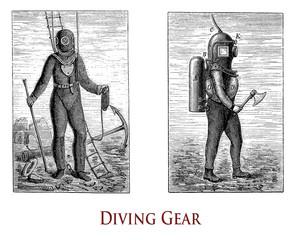 Vintage illustration describing the diving gear to work comfortably underwater