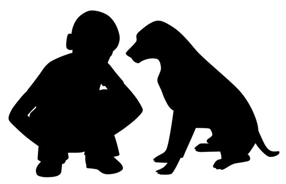 The best friends little boy and dog