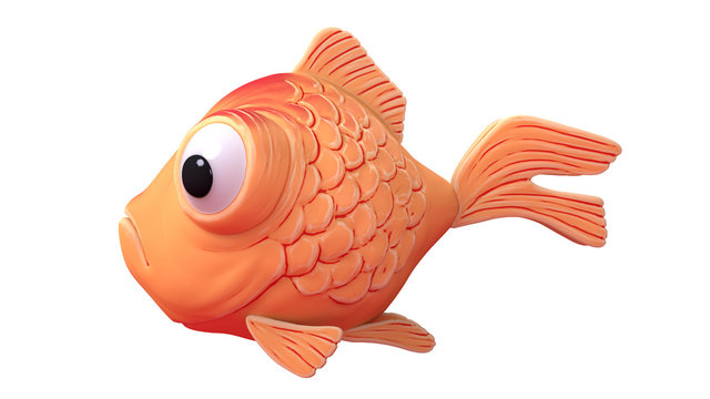 3d cartoon character of a spherical goldfish with big bulging eyes floating in the air. Funny yellow fish icon. 3d render of cute little magic fish isolated on white background. Assets for game design