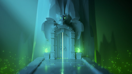 3d illustration of low poly mystical dungeon with a gate in the rock. Game locations with poisons. Above the stone gates is a dragon sculpture with glowing green eyes. Stylized art with bokeh effect.