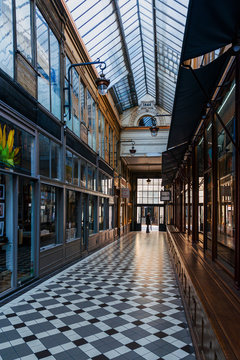 PARIS, FRANCE - APRIL 22, 2019: Covered Passage of Paris are an early form of shopping arcade built in Paris, France