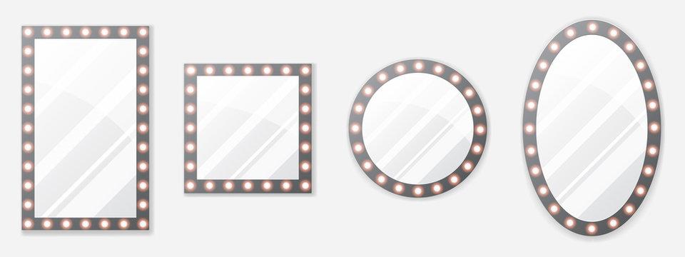 Set of makeup mirror with gold lights. Vector illustration