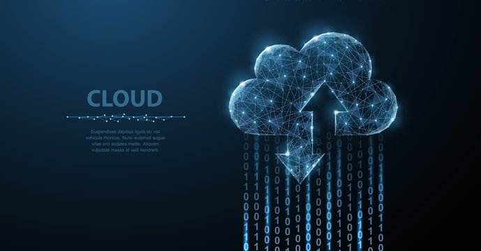 Cloud technology. Polygonal wireframe art looks like constellation. Concept illustration or background
