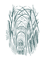 Obraz sketch vector illustration church indoor line art - fototapety do salonu
