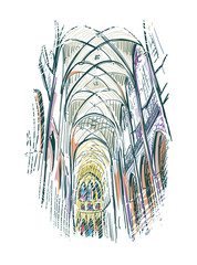 Obraz sketch vector illustration european view church indoor - fototapety do salonu