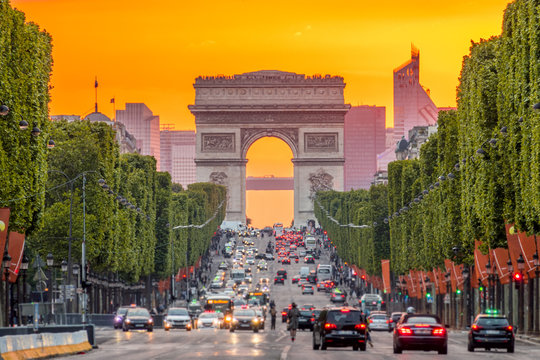 Champs Elysees and the Arc de Triomphe During a Golden Sunset
