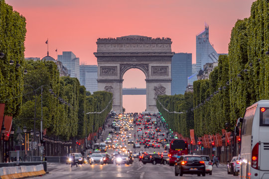 Champs Elysees and the Arc de Triomphe During a Pink Sunset