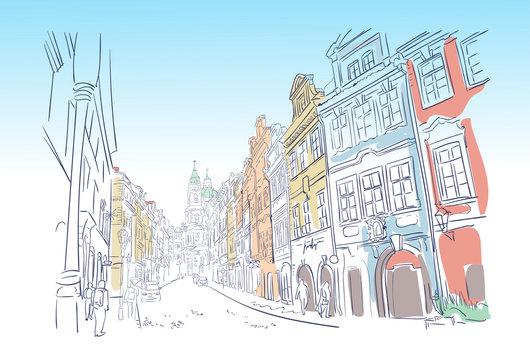 traveling European street Prague sketch vector sketch