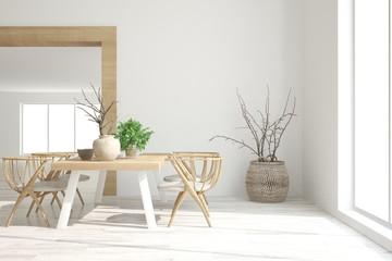 White dinner room. Scandinavian interior design. 3D illustration