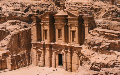 Views of the Lost City of Petra in the Jordanian desert, one of the Seven Wonders of the World