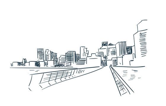 San Francisco city vector sketch landscape line illustration skyline