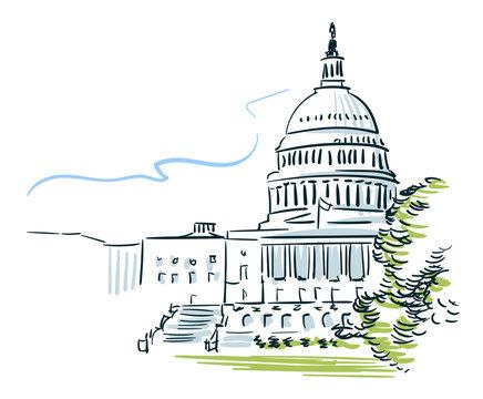 USA Washington sketch vector city line art