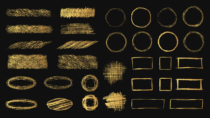 Big set of hand drawn pencil scribble round and square golden frames. Gold coal edge textures. Vector isolated foil hatch elements.