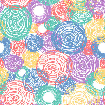 Colorful Scandinavian pencil scribbles seamless pattern. Texture with pastel color circles for wrapping paper. Vector isolated background for kid textile.