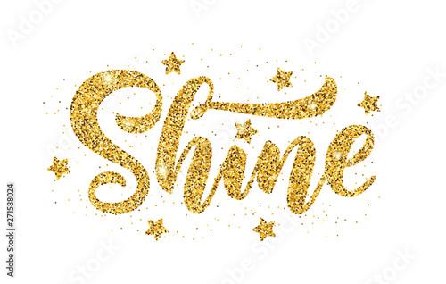 Shine  Gold glitter effect word on white background  Vector