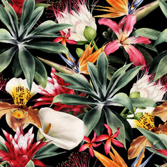Obraz Seamless floral pattern with tropical flowers, watercolor. - fototapety do salonu