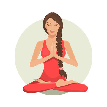 Cute cartoon girl in yoga lotus practices meditation. Practice of yoga. Vector illustration. Young and happy woman meditating