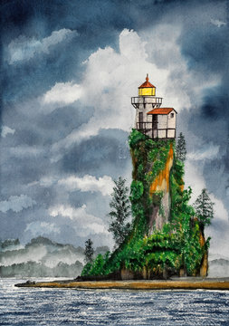 Hsndmade watercolor illustration of lighthouse