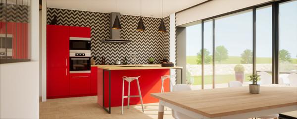 Fototapeta vue 3d cuisine avec îlot central et meuble rouge 02 obraz
