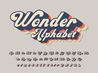 Vector of groovy hippie style alphabet design Fototapete