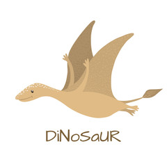 Cute baby pterodactyl dinosaur isolated on white.