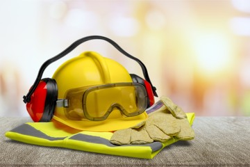 Safety Equipment - Helmet, Goggles, Ear Protection Wall mural