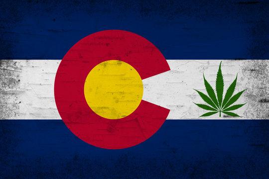 Colorado cannabis leaf state flag
