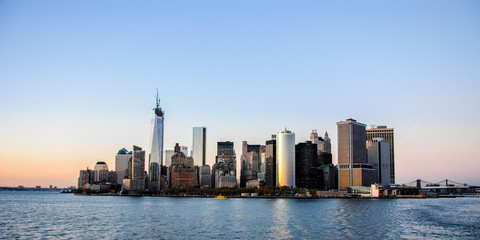 Amazing view of the skyline of the south of Manhattan in New York, at sunset. Picture taken in the way to Staten Island