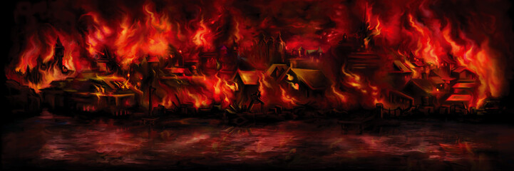 Foto auf Acrylglas Violett rot Banner with a medieval town aflame/ Illustration night scape with a fantasy town ashore on fire