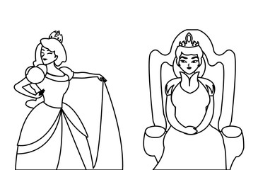 beautiful princess with queen on throne of tales character
