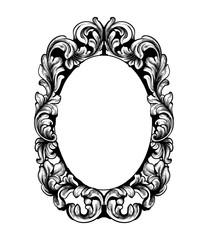 Vintage frame Vector line art. Classic engraved ornaments. Royal styles