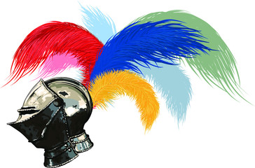 steel helmet, fully face-protecting, medieval helmet with a plume of colored feathers