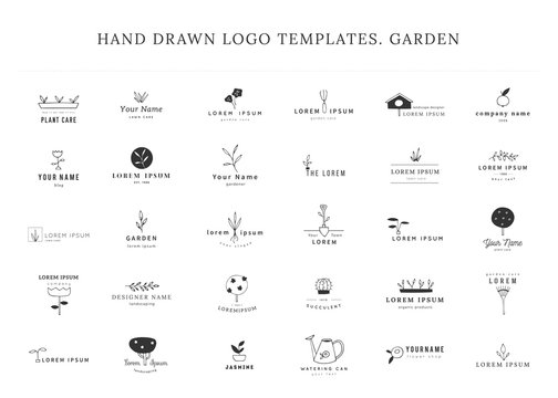 Vector garden logo templates set. Hand drawn isolated elements.